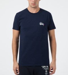 Stussy Navy Basic Logo T-Shirt Model Picture