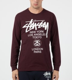 Stussy Wine World Tour L/S T-Shirt Model Picture