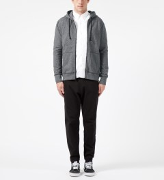 Reigning Champ Charcoal RC-3260 Heavyweight Terry L/S Zip Front Hoodie Model Picture