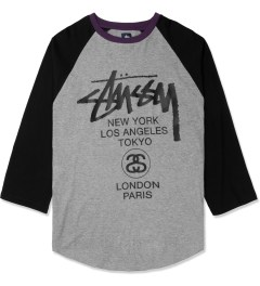 Stussy Heather Grey Baseball World Tour ¾ Raglan Picture