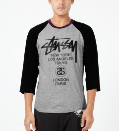 Stussy Heather Grey Baseball World Tour ¾ Raglan Model Picture