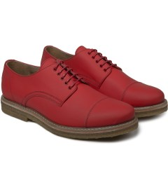 Carven Red Derbies Mat Mat Leather Shoes Model Picture