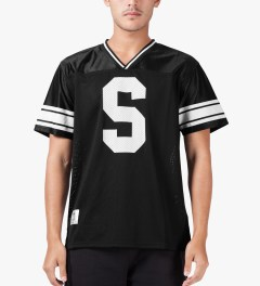 Stussy Black All City Football S/S Crew Jersey Model Picutre