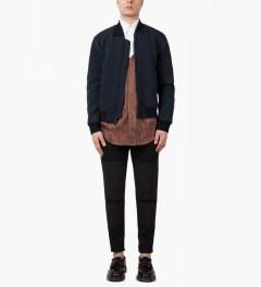 3.1 Phillip Lim Navy/Grey Front Welt Pockets Harrington Zip Up Jacket Model Picture