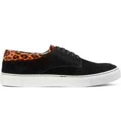 E.R SOULIERS DE SKATE Orange/Black Pony Leopard Suede Picture