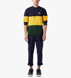 HUF Navy/Yellow/Green Crested Block Crewneck Sweater Model Picutre