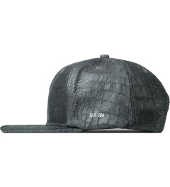 Stampd Grey Lambskin Lux Python 6 Panel Blank Snapback Cap Model Picture