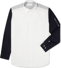 Liful White Colorblock Zip-Pocket Shirt Picture