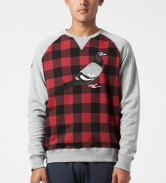 Staple Heather Tartan Pigeon Crewneck Sweater Model Picture