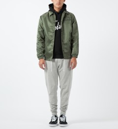 Raised by Wolves Olive Drab College Coaches Jacket Model Picture