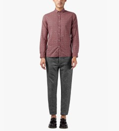 Commune De Paris Burgundy Exode Pattern Menand Shirt Model Picutre