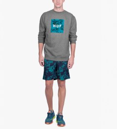 HUF Heather Grey Box Logo Fill Floral Crewneck Sweater Model Picture