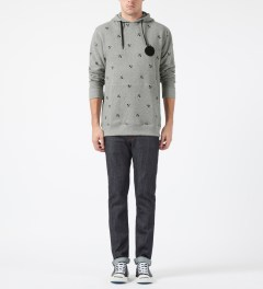 Us Versus Them Heather Grey Crosscut Pattern Hoodie Model Picture