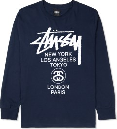 Stussy Navy World Tour L/S T-Shirt Picture