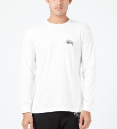 Stussy White Basic Logo L/S T-Shirt Model Picture