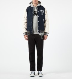 Stussy Dark Navy World Tour Wool Jacket Model Picture