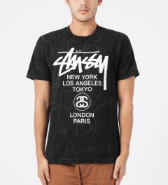 Stussy Black World Tour Scribble T-Shirt Model Picture