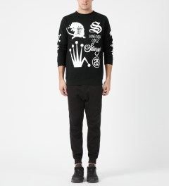 Stussy Black Crown Collage Crewneck Sweater Model Picture