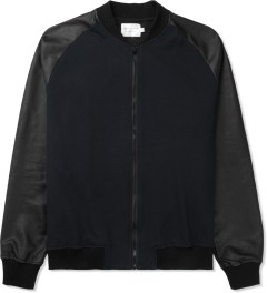 Shades of Grey by Micah Cohen Navy/Black Knit Bomber Jacket Picture