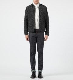 Naked & Famous Dark Grey Quilted Zip Jacket Model Picture