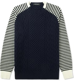 PHENOMENON Navy Border Print Knitted Crewneck Sweater Picutre