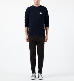Stussy Navy Basic Logo Crewneck Sweater Model Picture