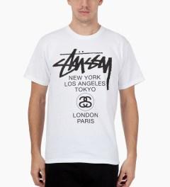 Stussy White World Tour T-Shirt Model Picutre