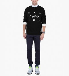 Libertine-Libertine Black/White Grill Space Sweatshirt Model Picutre