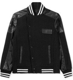 Munsoo Kwon Black/White Asymmetric Dotted Line Varsity Jacket Picture
