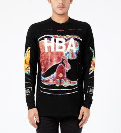 Hood By Air. Black Color Ultrasound L/S T-Shirt Model Picture