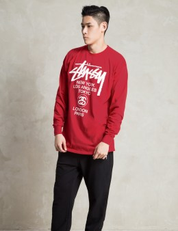 Stussy Red LS World Tour T-Shirt Picture
