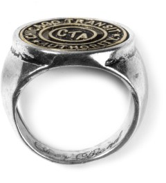 Icon Brand Burnished Silver/Gold Chicago Subway Token Ring Model Picture
