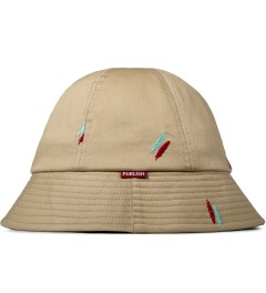 Publish Tan Oliver Quill Shadow Embroidery Bucket Hat Model Picture
