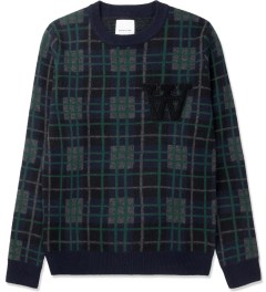 Wood Wood Navy Check Gregory Sweater Picture