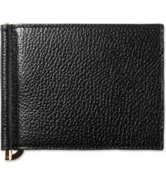 Thom Browne Black Grained Leather Bi-Fold Wallet w/ Money Clip Picutre