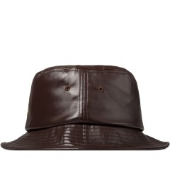 Stussy Brown SS Link Leather Bucket Hat Model Picture