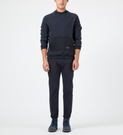 Patrik Ervell Navy Mock Neck Kangaroo Pocket Sweater Model Picture
