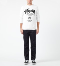 Stussy White World Tour Crewneck Sweater Model Picture