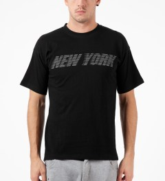 Mott Street Cycles Black New York Tail T-Shirt Model Picutre