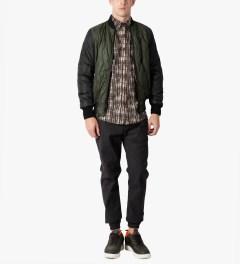 Christopher Raeburn Olive/Black Quilted Bomber Jacket Model Picutre