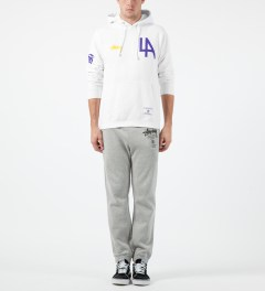 Stussy White LA 80 Hoodie Model Picture