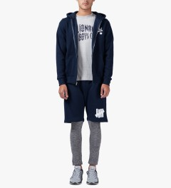 Undefeated Indigo Script Zip Hoodie Model Picutre