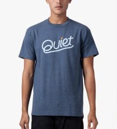 The Quiet Life Blue Heather Quiet Script T-Shirt Model Picutre
