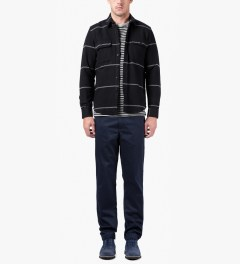 SATURDAYS Surf NYC Black Angus Heavy Twill L/S Stripe Shirt Model Picutre