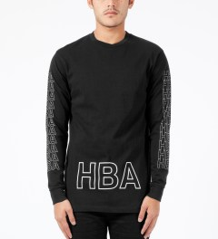 Hood By Air. Black Layered Logo L/S T-Shirt Model Picture