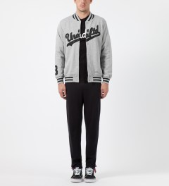 Undefeated Heather Grey Script Varsity Jacket Model Picture