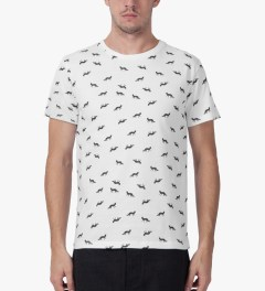 Maison Kitsune White All-over Multi Fox Crewneck T-Shirt Model Picutre