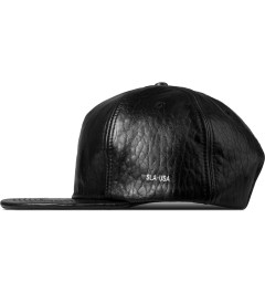 Stampd Black Embossed Lambskin Snapback Cap Model Picture