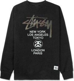 Stussy Black Camo App World Tour Crewneck Sweater Picture