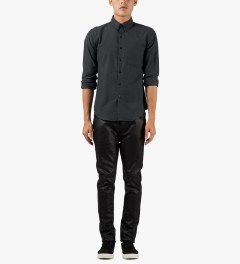 Naked & Famous Charcoal Twisted Yarn Slim Shirt Model Picutre